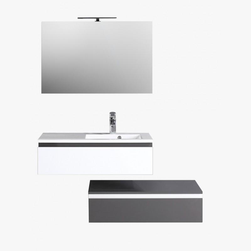 Aquamare, ensemble salle de bain laqué 90 cm gris et blanc