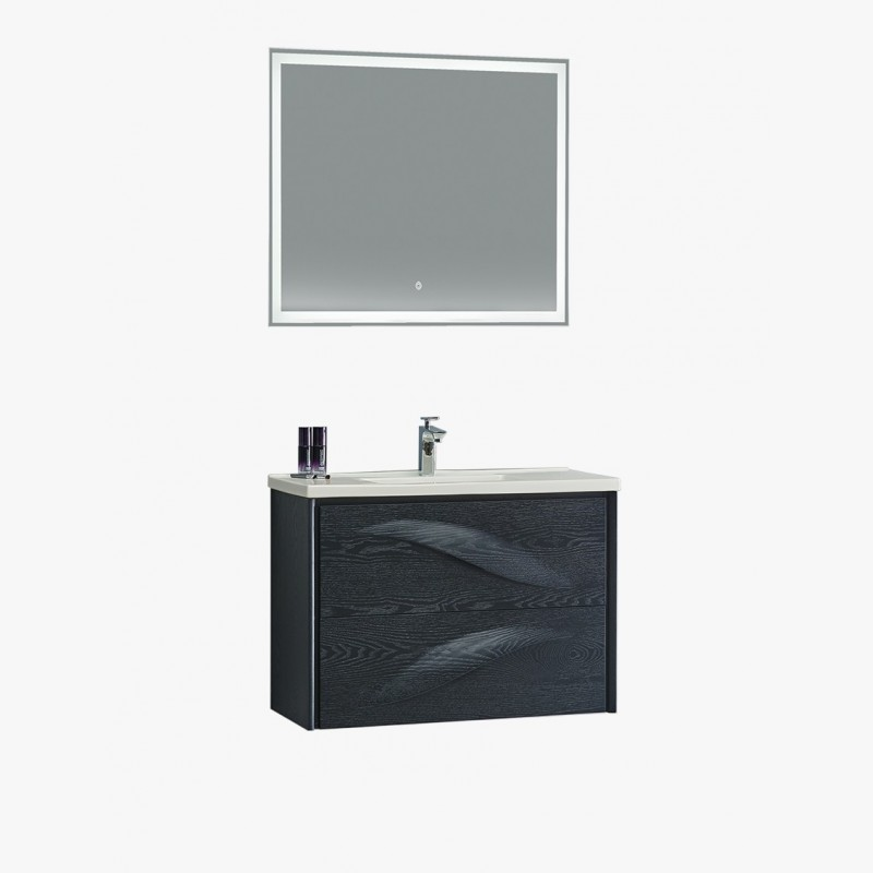 Aquavento, ensemble salle de bain noir 80 cm