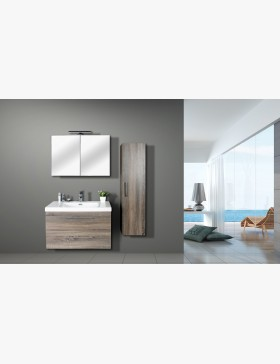 aquasun meuble salle de bain haut double miroir avec led 80cm gris. Black Bedroom Furniture Sets. Home Design Ideas