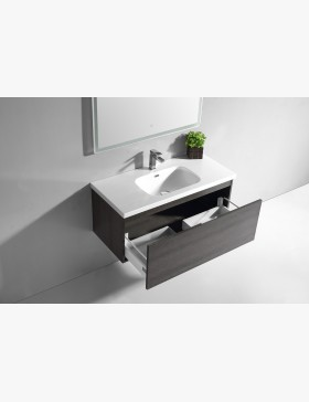 Aquaterra meuble salle de bain 100 cm avec 1 tiroirs gris - Meuble salle de bain 100 cm ...