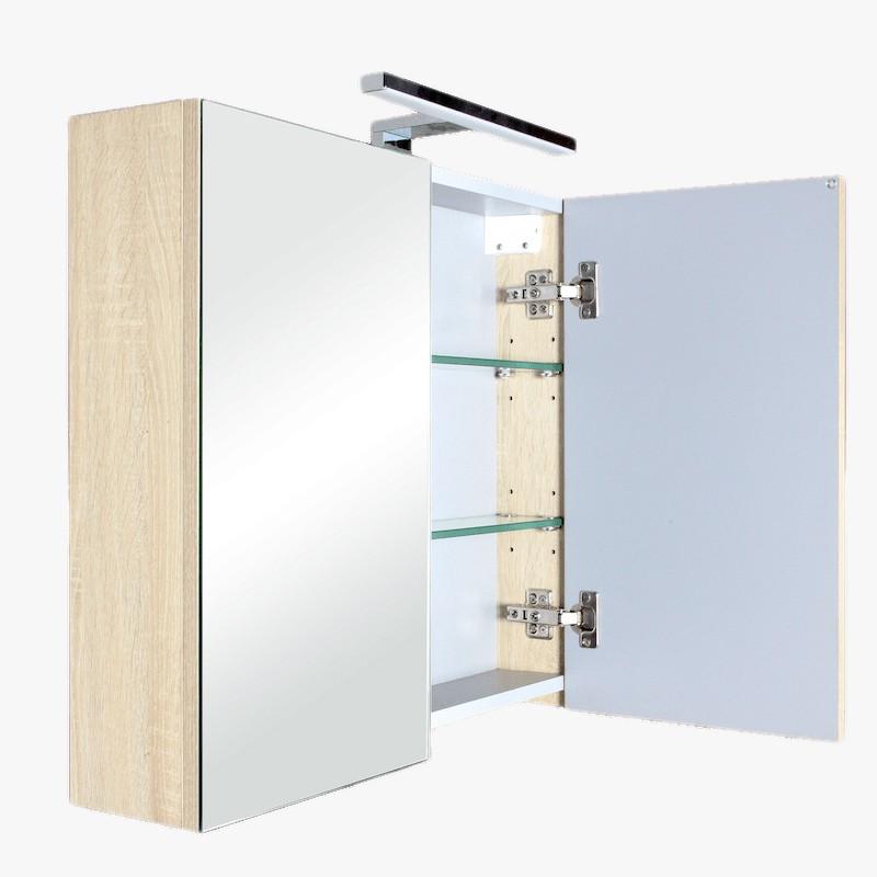 Aquazur meuble salle de bain haut double miroir avec led 80cm - Miroir avec spot salle de bain ...