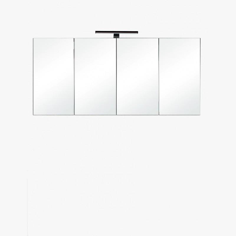 Aquazur, meuble salle de bain haut 120cm avec 4 miroirs et éclairage