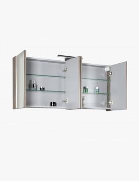 Aquasun meuble salle de bain haut 120cm gris avec 4 - Meuble haut salle de bain avec miroir ...