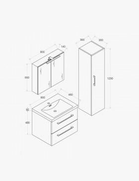 Aquazur, meuble salle de bain 2 tiroirs 80cm