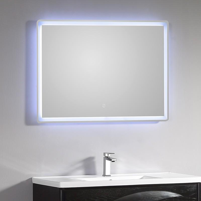 miroir lumineux salle de bain led 115 x 66 cm avec bouton sensitif. Black Bedroom Furniture Sets. Home Design Ideas