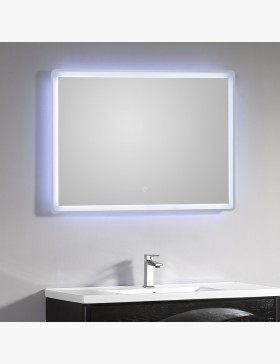 miroir lumineux salle de bain led 95 x 66 cm avec bouton sensitif. Black Bedroom Furniture Sets. Home Design Ideas