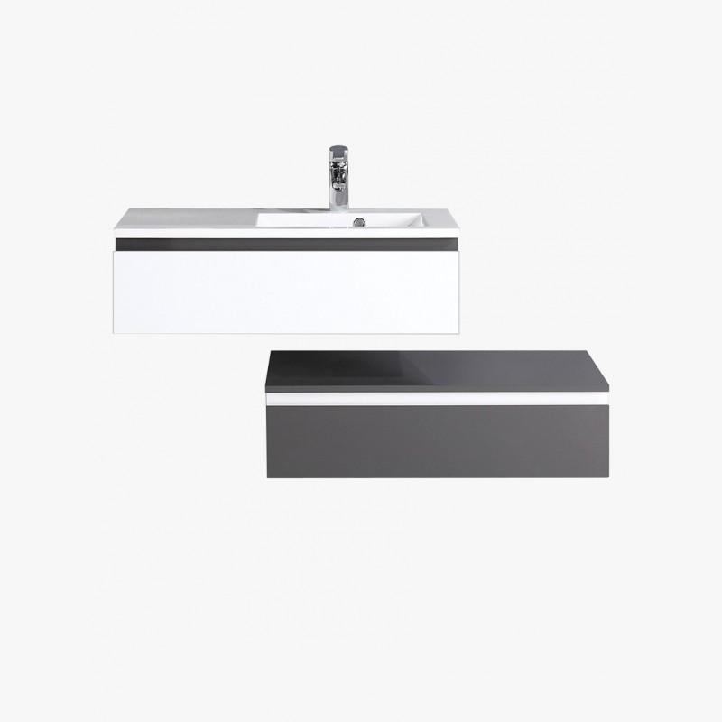 Aquamare meuble salle de bain simple vasque 2 tiroirs for Meuble salle de bain blanc et gris