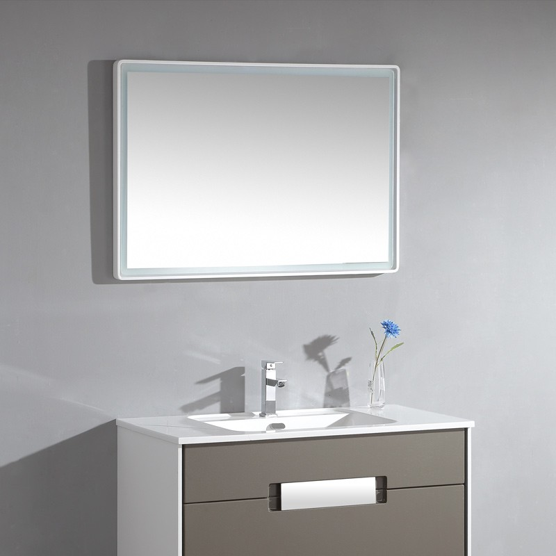 miroir salle de bain led angles ronds et bords finition blanc 80 cm. Black Bedroom Furniture Sets. Home Design Ideas