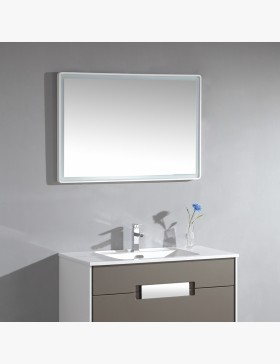 miroir salle de bain led angles ronds et bords finition blanc 100 cm. Black Bedroom Furniture Sets. Home Design Ideas
