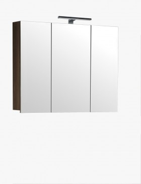 Aqualuna meuble salle de bain haut orme gris 100 cm avec for Meuble haut salle de bain gris