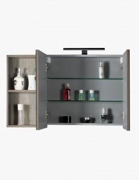 Aquasun meuble salle de bain haut double miroir et rangement avec led 90cm gris - Meuble haut salle de bain avec miroir ...