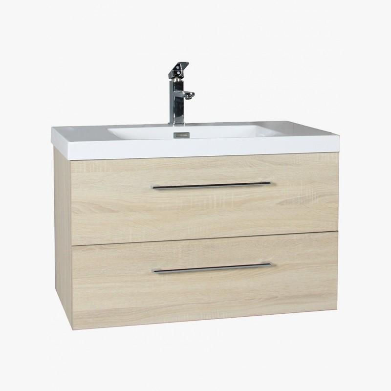 Meuble salle de bain suspendu aquazur 2 tiroirs 795 x 455 x 480 mm chene... par LeGuide.com Publicité