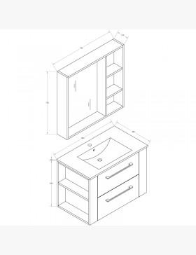 Aquanoma, meuble salle de bain avec étagères ouvertes et vasque