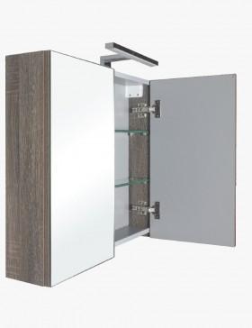 Aquasun meuble salle de bain haut double miroir avec led for Meuble haut salle de bain gris