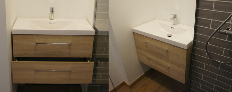 Installation du meuble salle de bain 80 cm une fois terminé