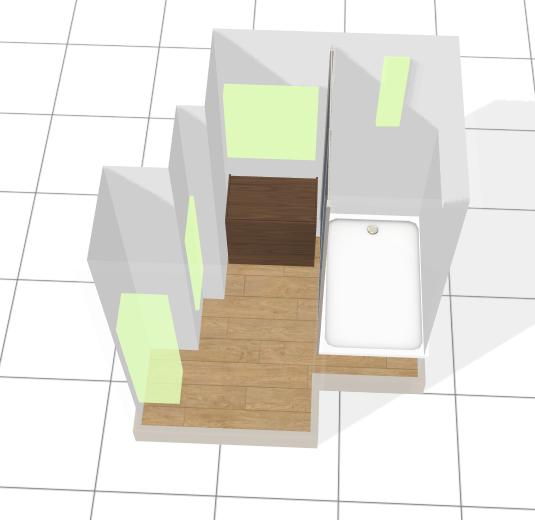 Plan 3D de la salle de bain de 3m2