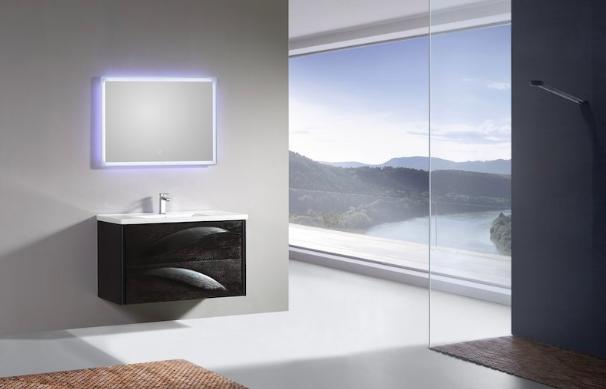 Meuble de salle de bain design noir de 100 cm