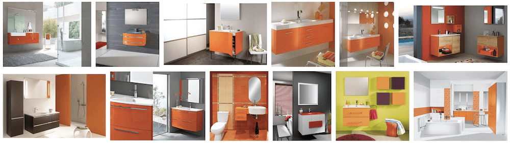 exemple déco meuble de sdb orange