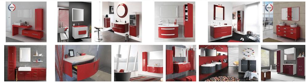 Meubles de salle de bain rouge