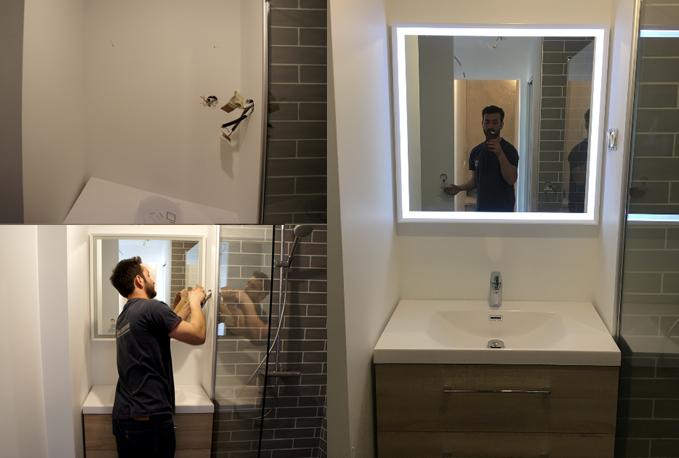 Installation du miroir led dans la salle de bain
